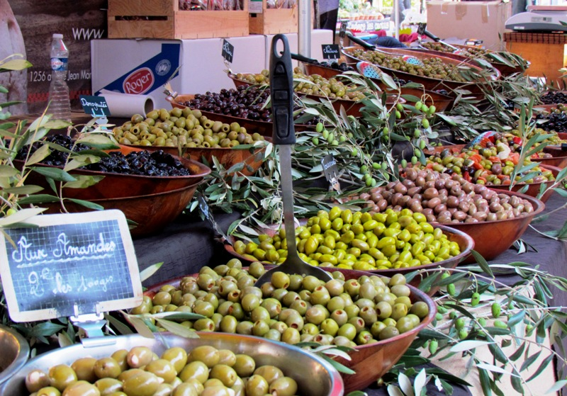 Olives for sale in Ollioules village.