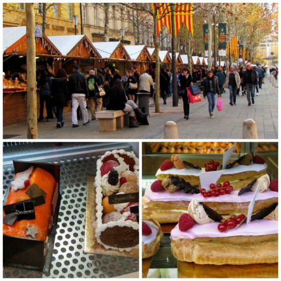 Aix Christmas market, buches de noel, and sweets from Bechard bakery